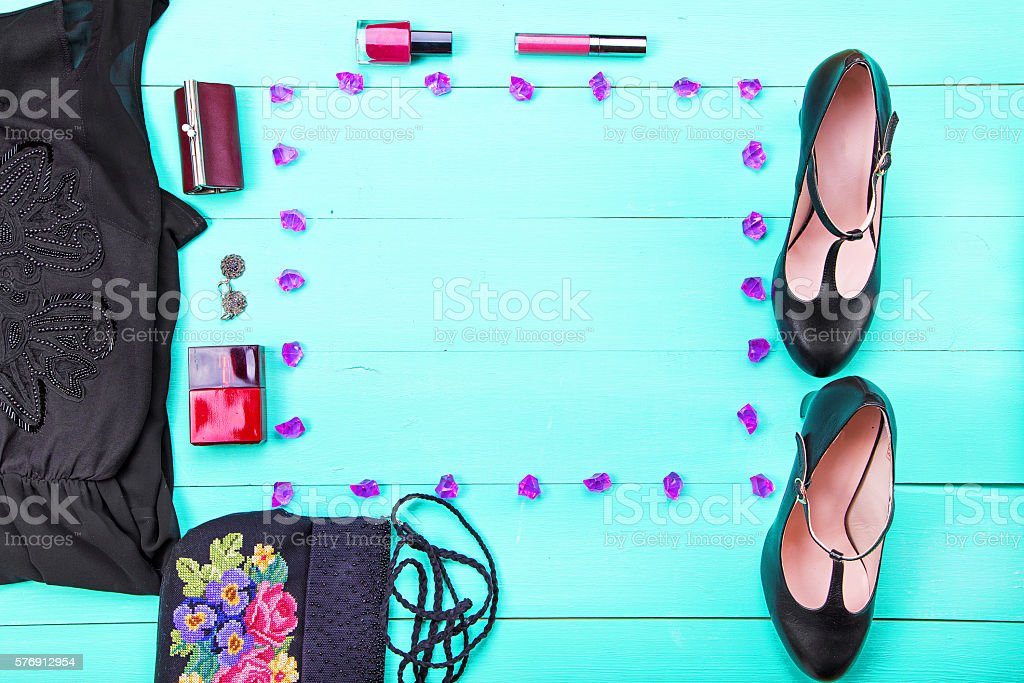 women's clothes top view stock photo