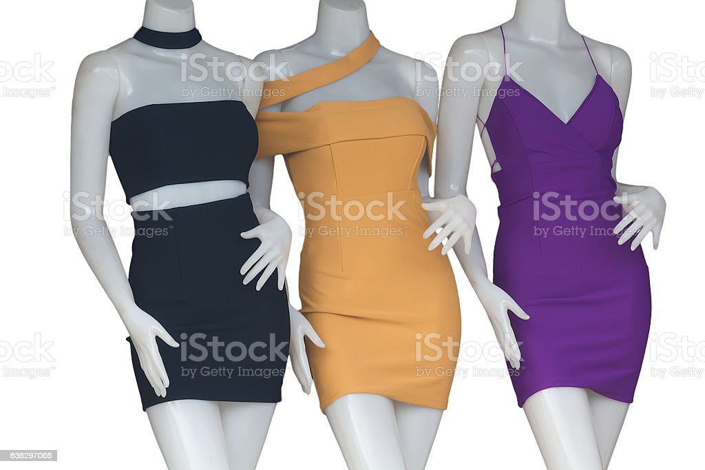 Women's clothing on mannequins Images stock photo