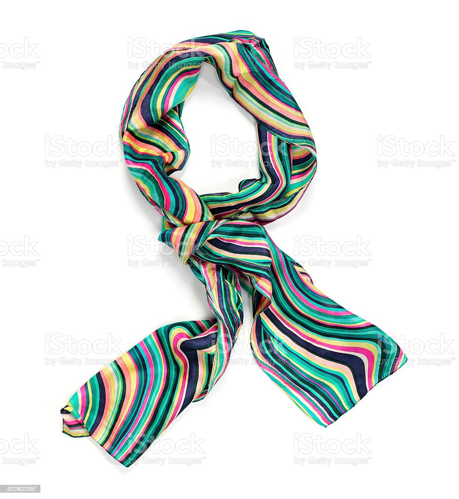 Women's colorful silk scarf stock photo