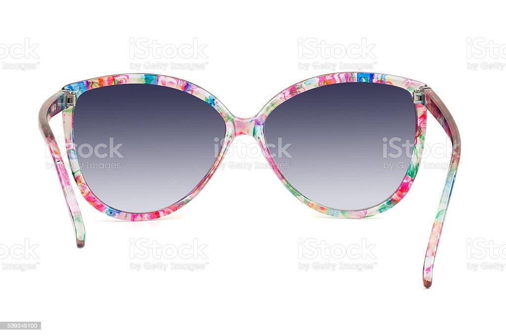 Women's colorful sunglasses on white background stock photo