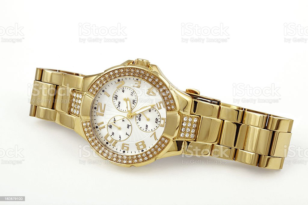 Women's crystal accented gold watch stock photo