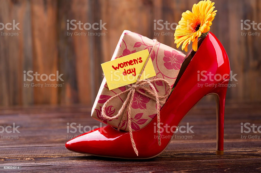 Women`s Day card and gift. stock photo
