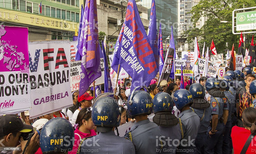 Womens day protest in Philippines stock photo