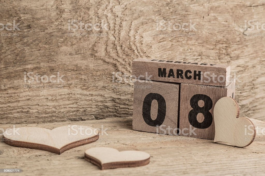 women's day template with cube calendar stock photo
