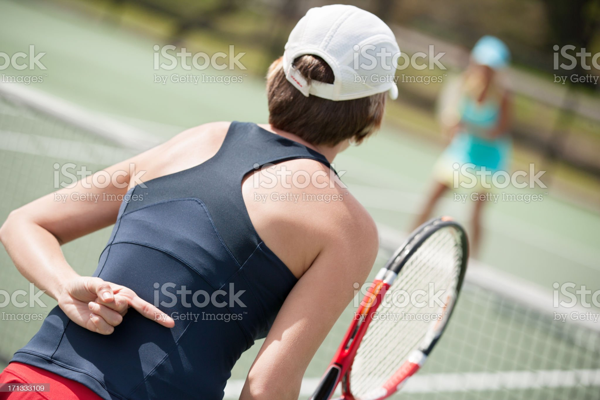 women's doubles tennis hand signal royalty-free stock photo