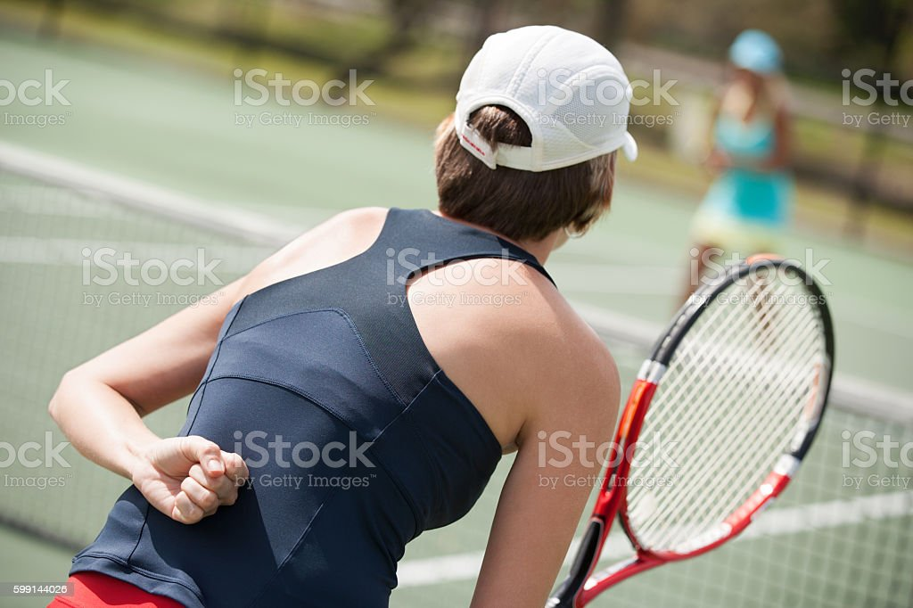 women's doubles tennis hand signal stock photo