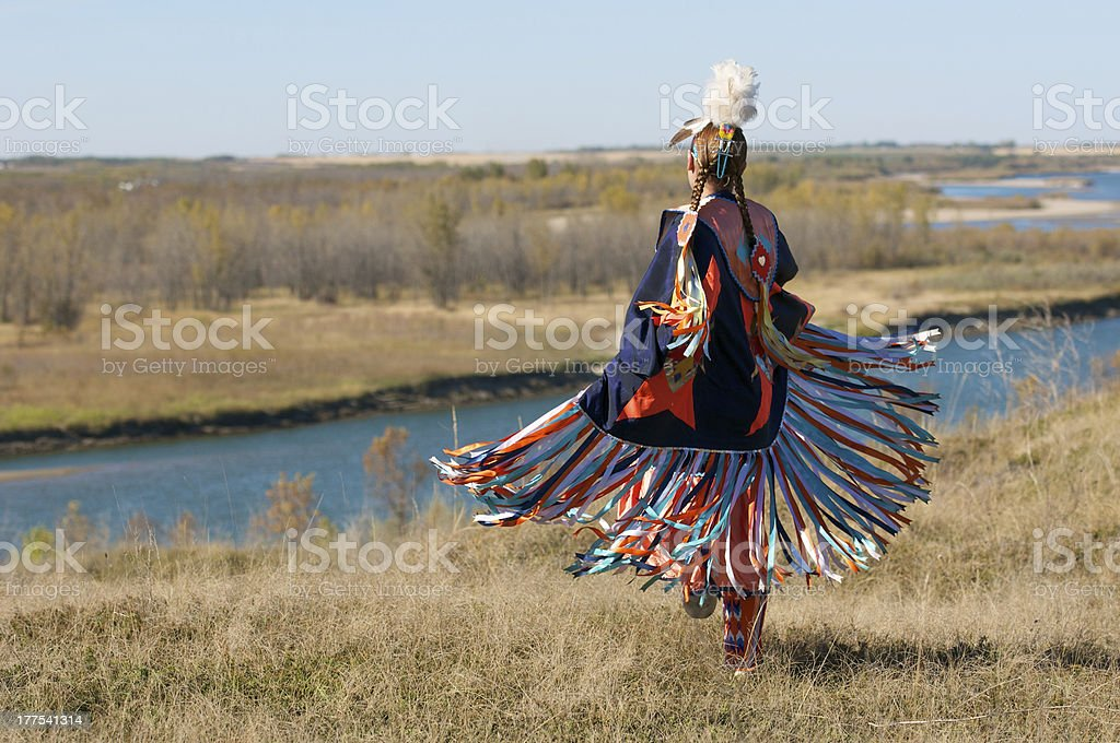 Women's Fancy Shawl Dance Movement stock photo