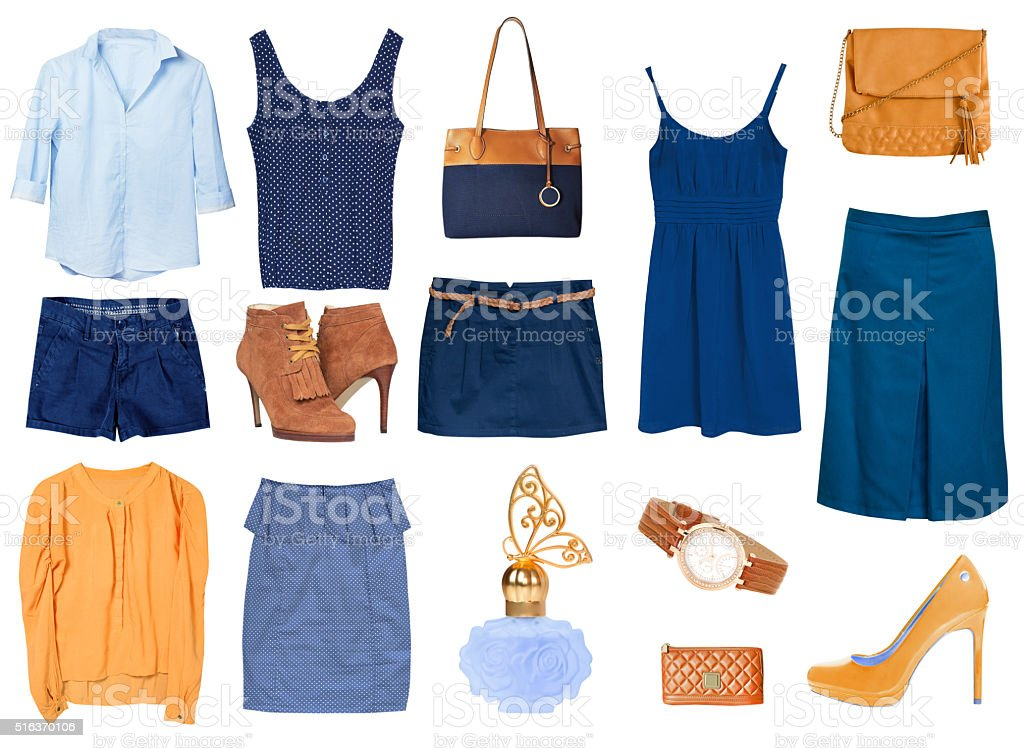 Women's female clothes isolated collage set. stock photo