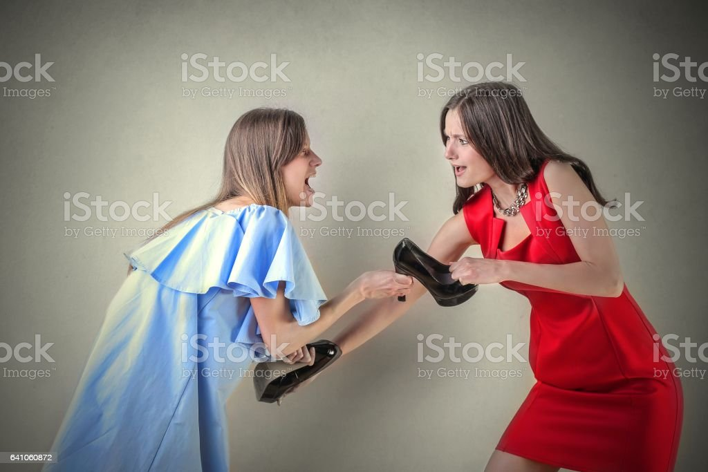 Women's fight stock photo