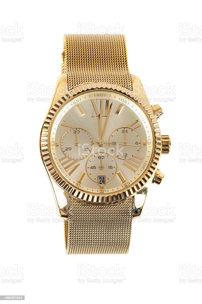 Womens gold watch on white background stock photo