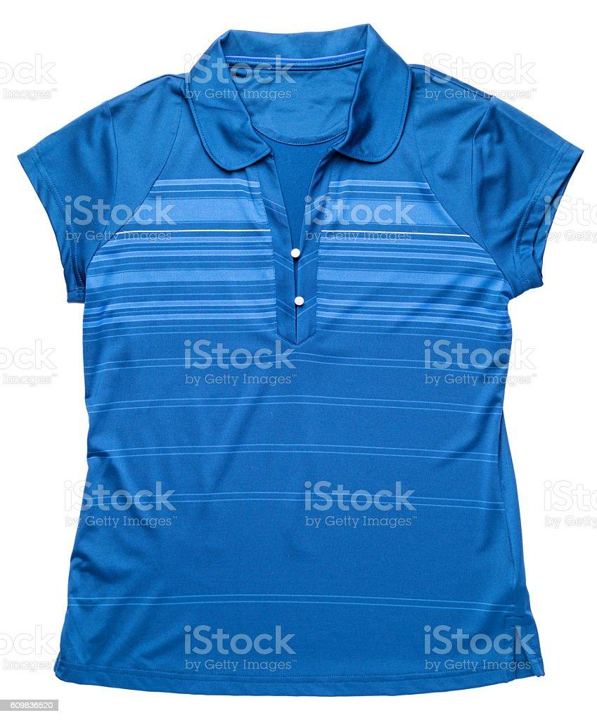 Women's golf tennis shirt on white stock photo
