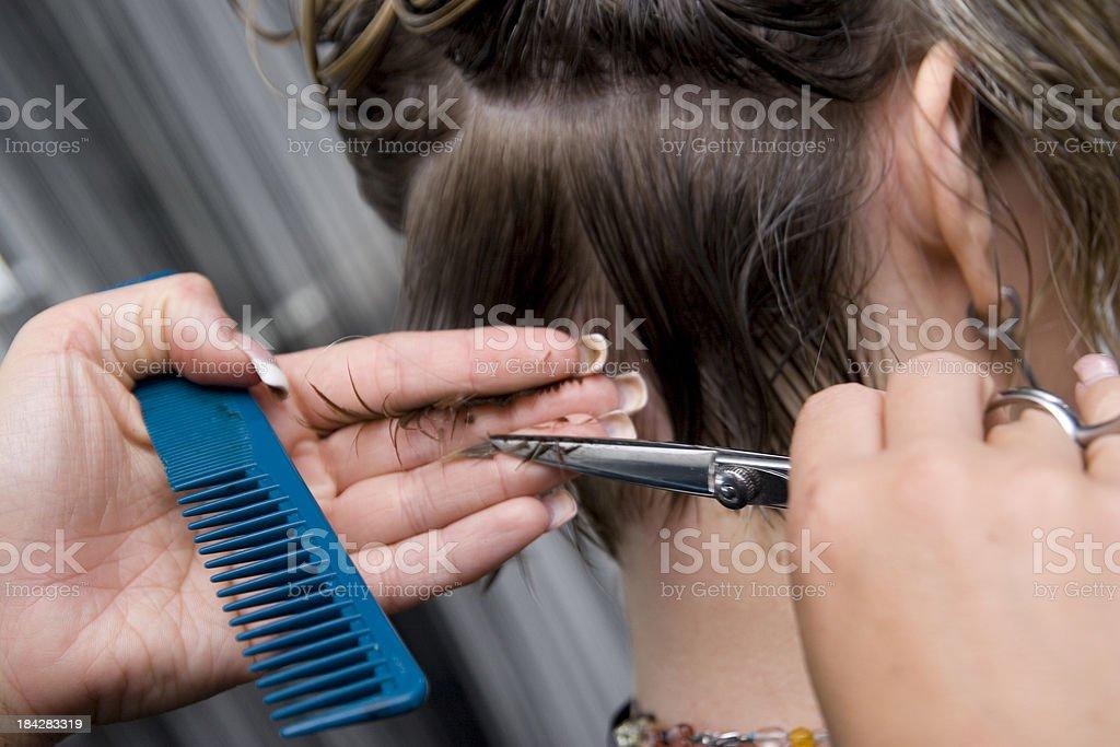Women's Hair Cut stock photo