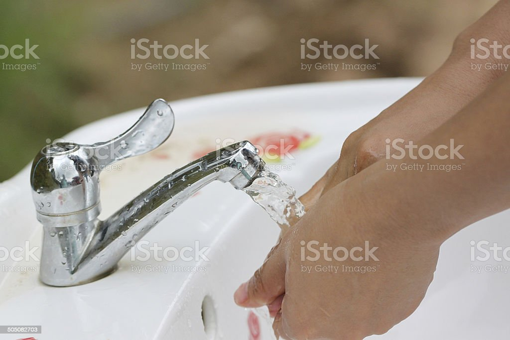 Women's hands are washed. royalty-free stock photo