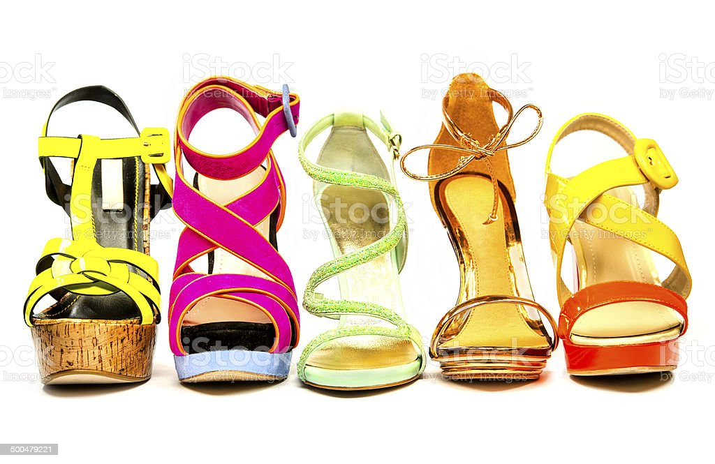 Women's High Heels Shoes for summer in fancy colors stock photo