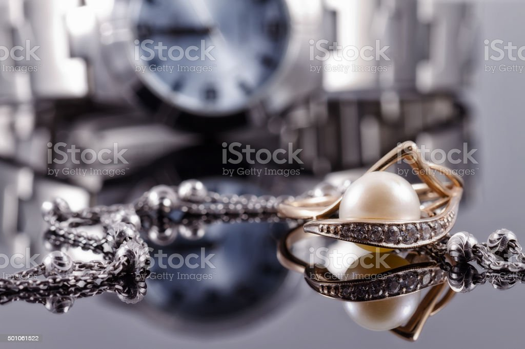 Women's jewelry and watches stock photo