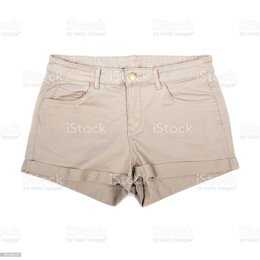 Women's Khaki Shorts Isolated on White stock photo