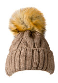 Women's knitted hat isolated on white background.hat with po