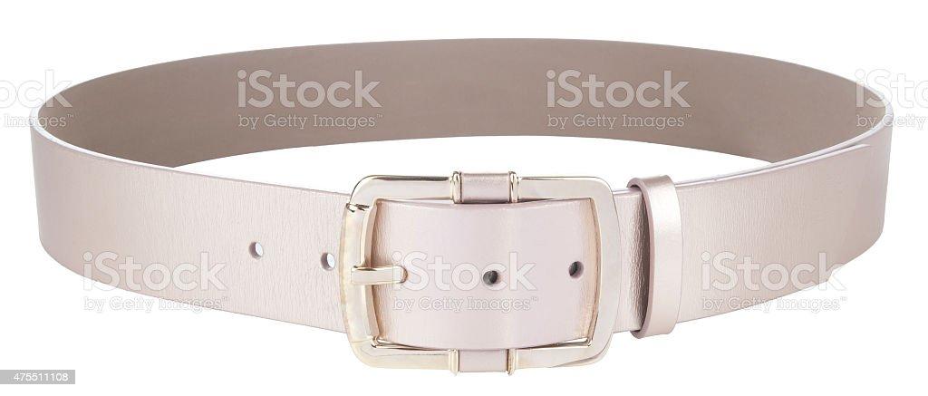 women's leather belt on white stock photo