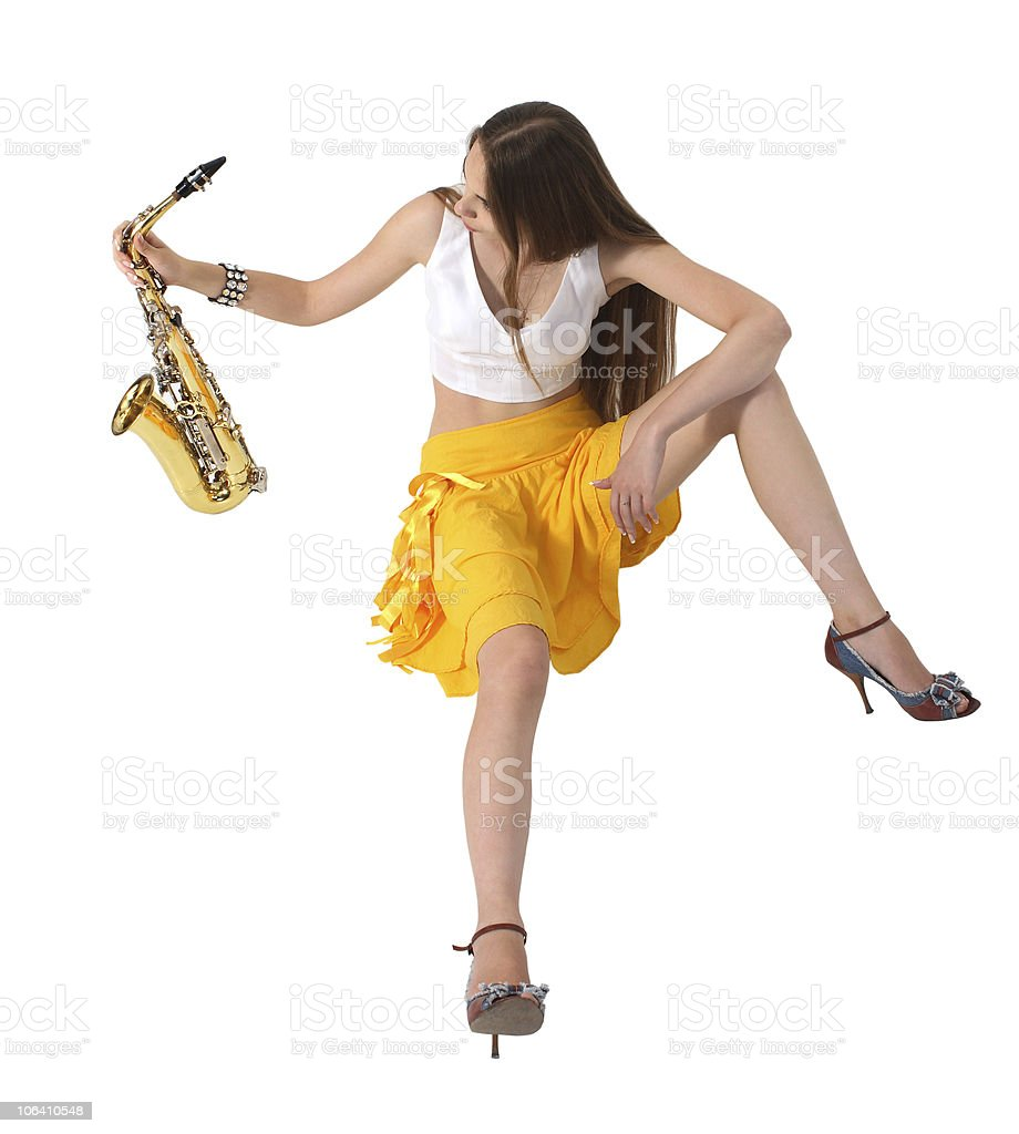 Women's long sitting with sax stock photo