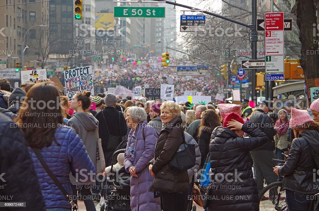 women's march in NYC stock photo