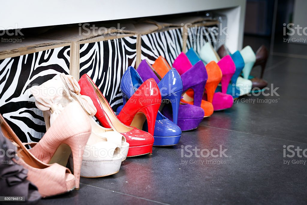 Women's multi-colored shoes with high heels stock photo