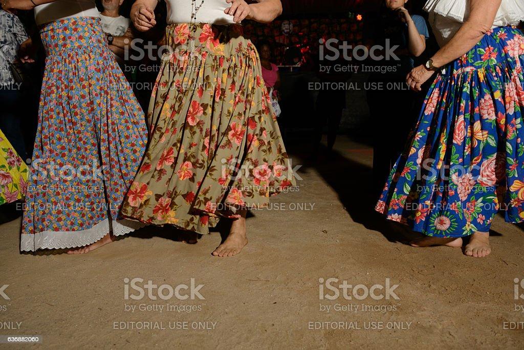 Womens of Umbanda during jongo dance performance stock photo
