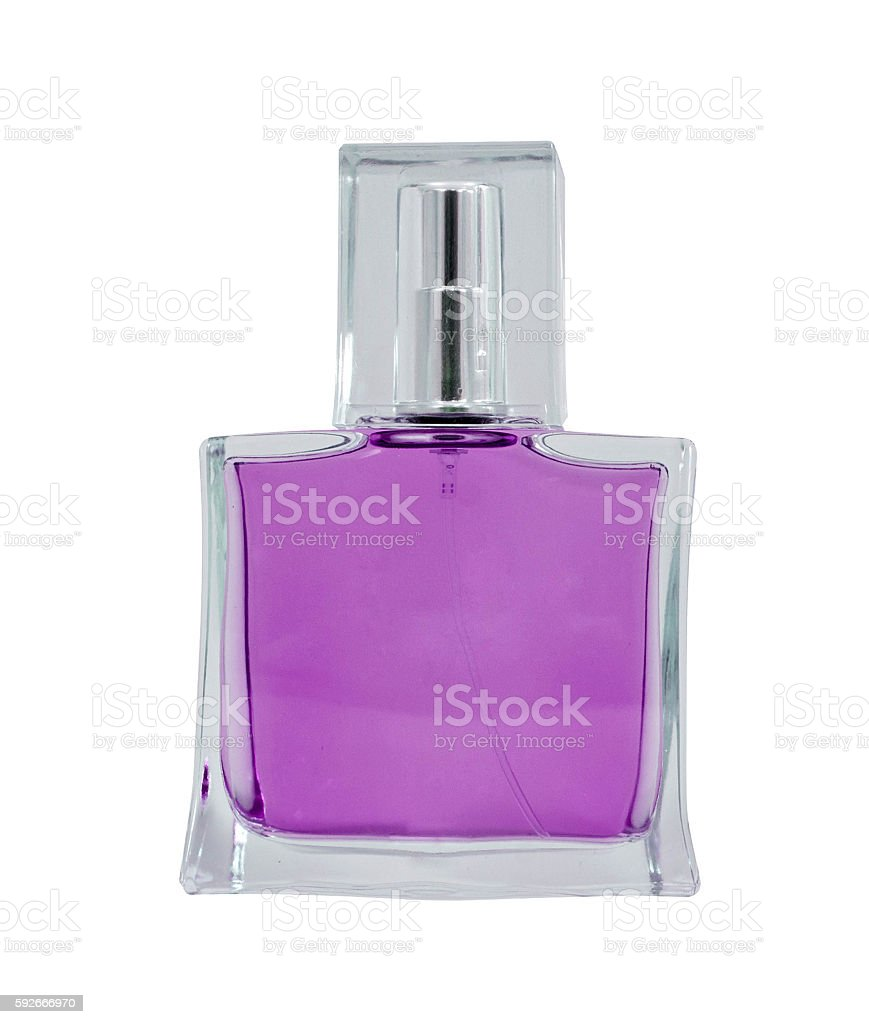 women's perfume in beautiful bottle isolated on white stock photo
