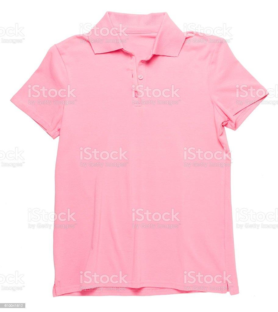 Women's pink polo shirt on white stock photo