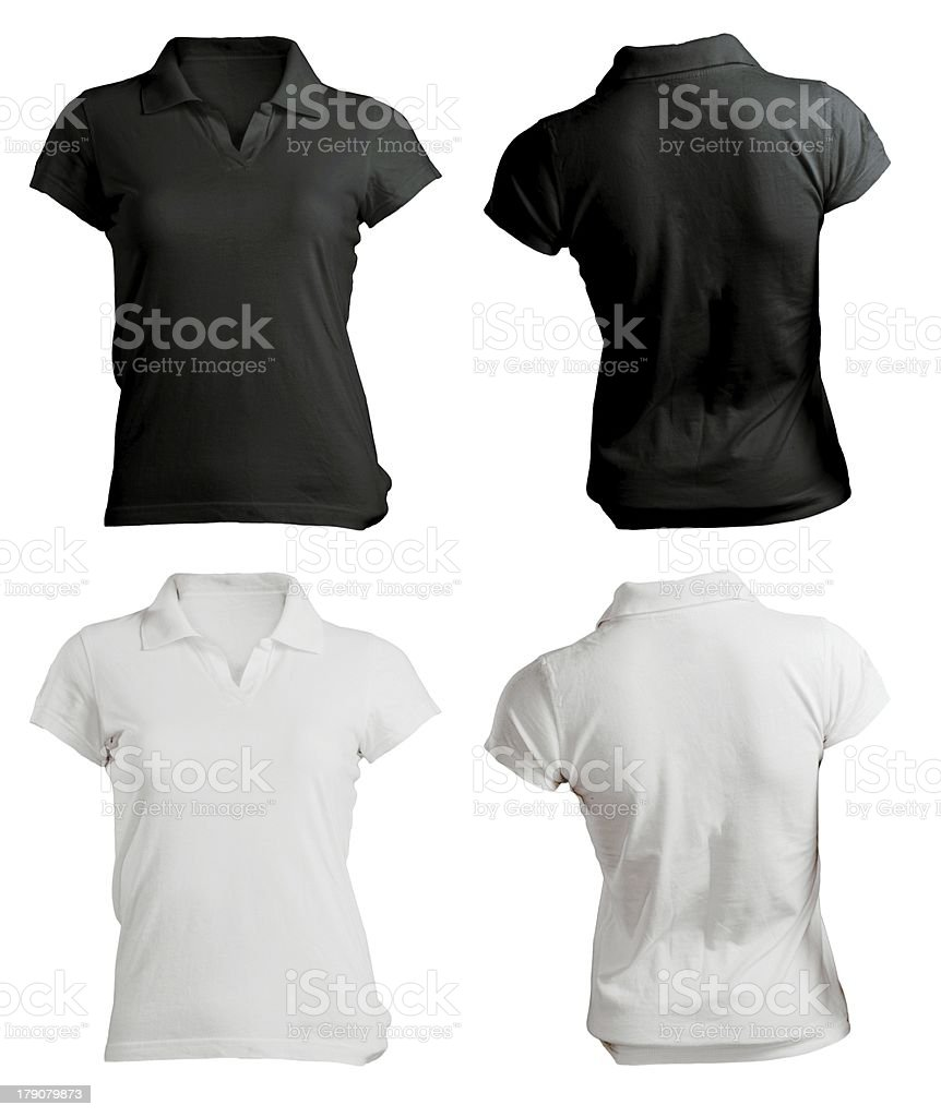 women's polo shirt template, black white, front and back stock photo