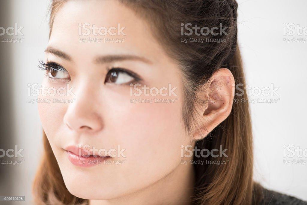 Women's profile stock photo