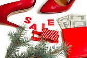Women's red shoes on Christmas sale