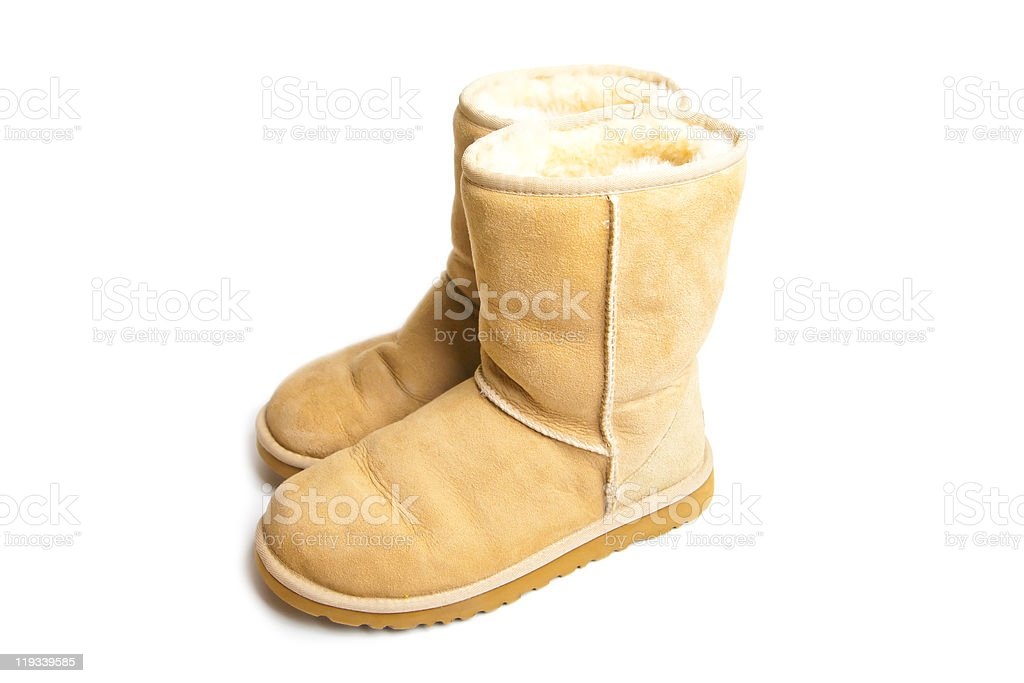 Womens Sheepskin boots isolated on white stock photo