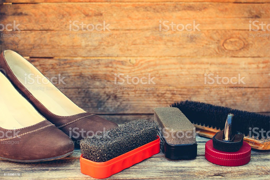 Women's shoes and care products for footwear stock photo