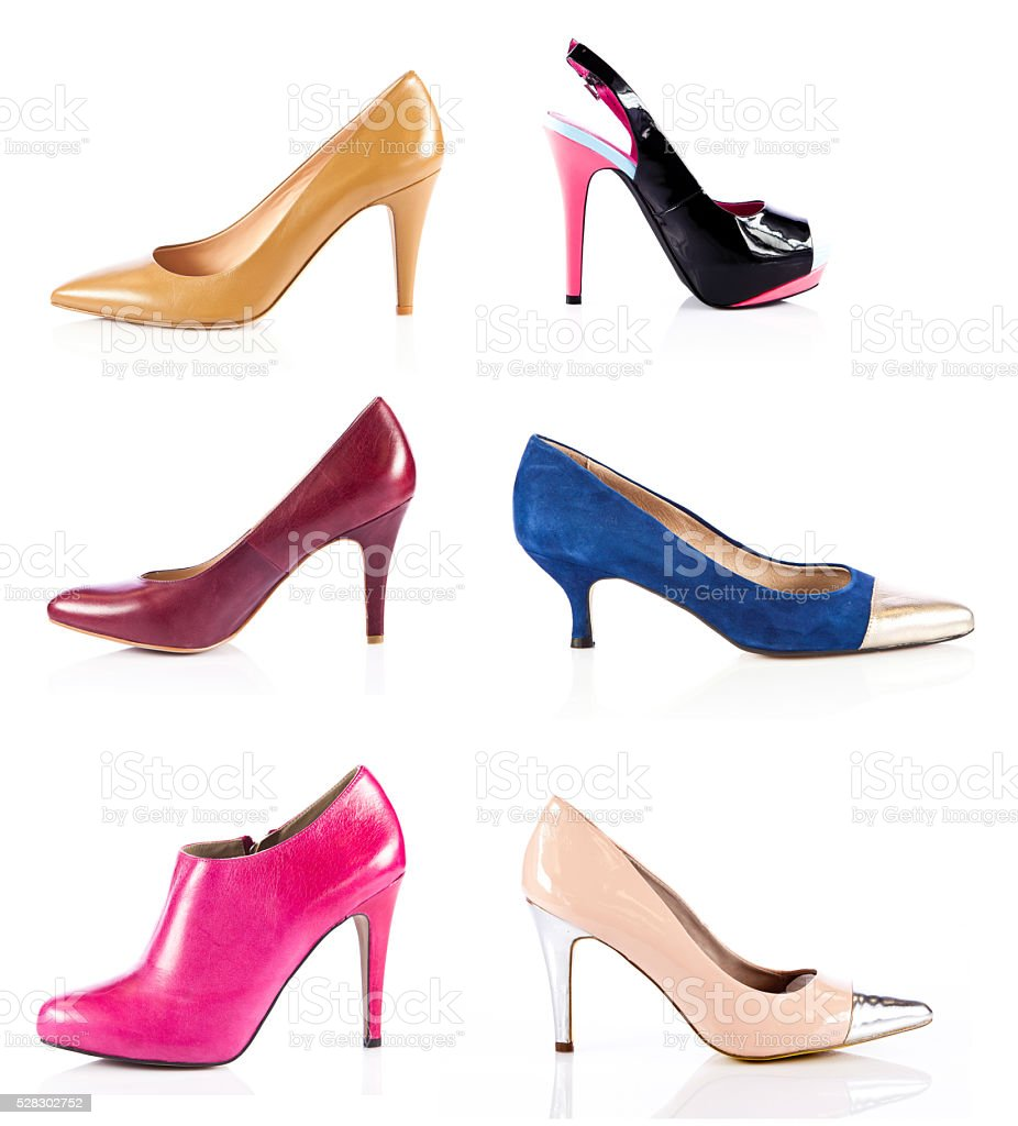 Womens shoes.  collection of shoes stock photo