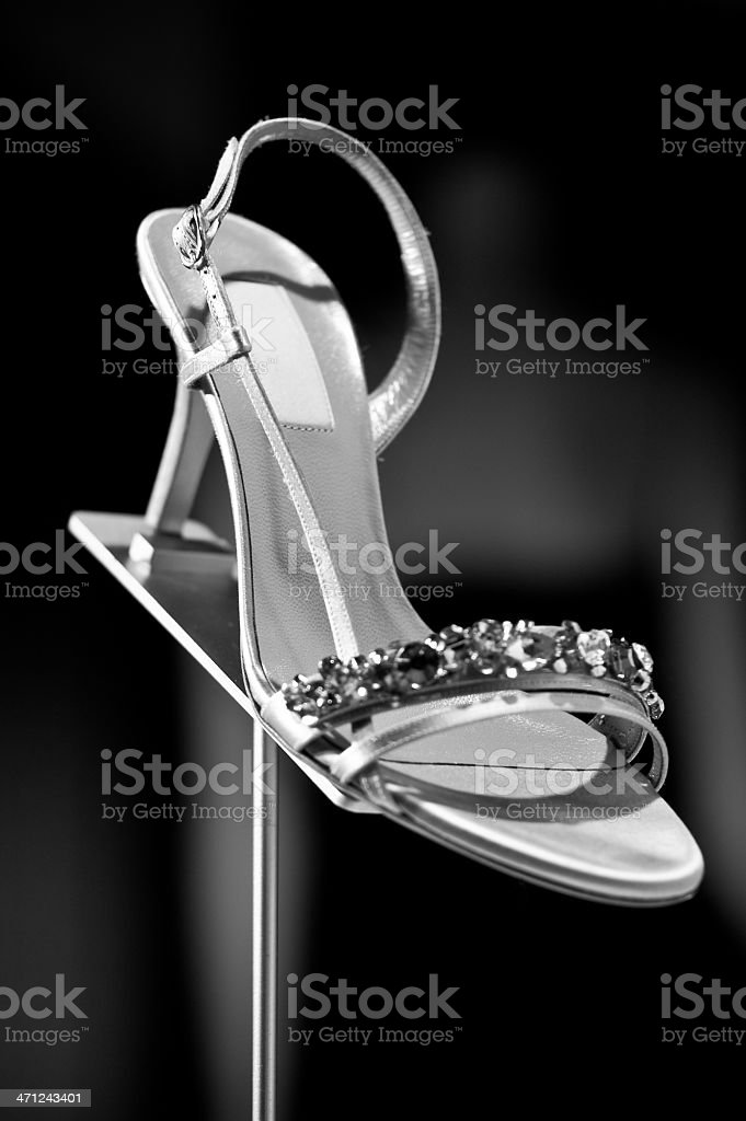 Women's shoes in a shop window royalty-free stock photo