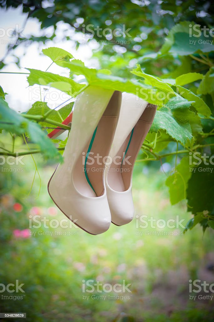 Womens shoes with high heels are hanging stock photo