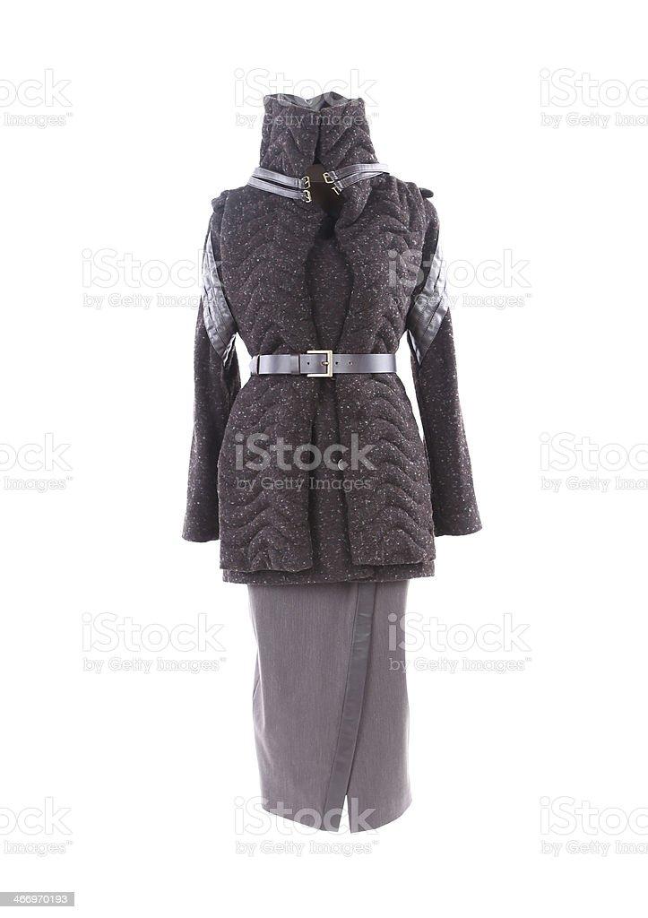 Women's short coat and long skirt. stock photo