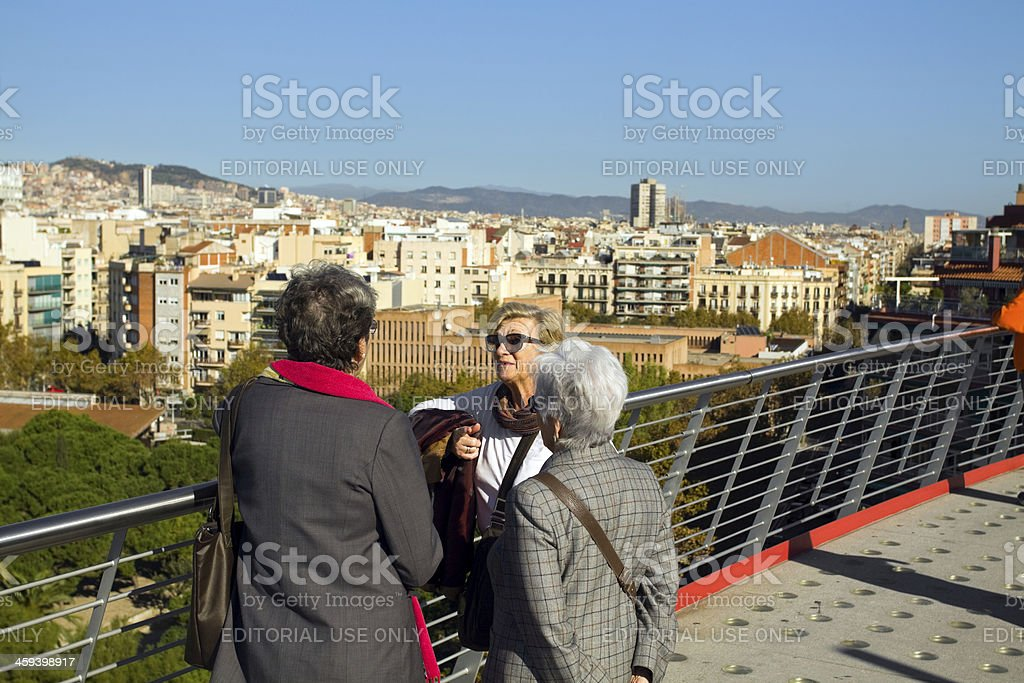 Women's sight seeing in Barcelona stock photo