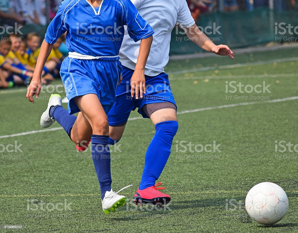 Women's soccer match stock photo