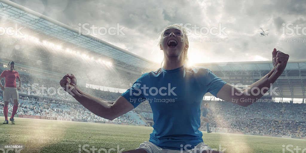 Womens Soccer Player Celebrating After Scoring stock photo