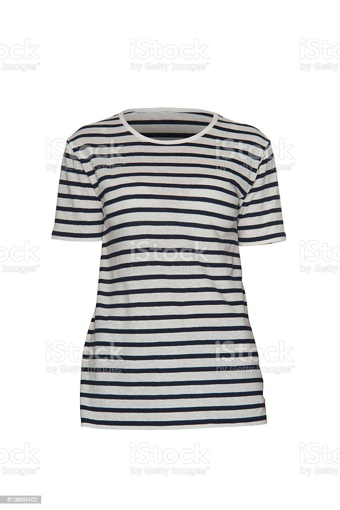 Women's striped T-shirt on a white background stock photo