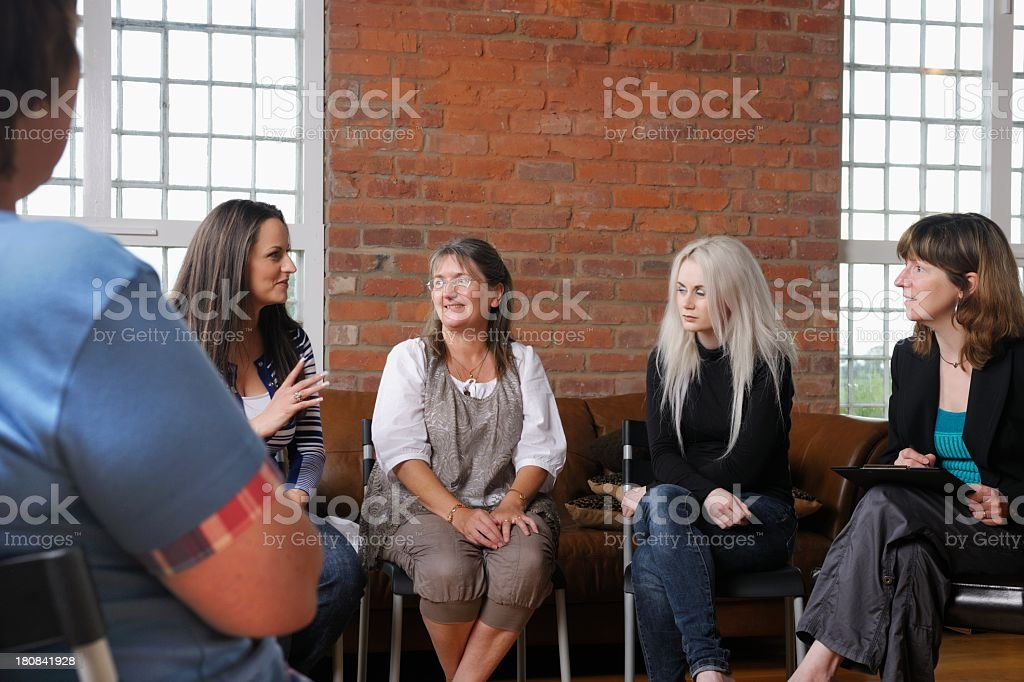 Women's Support Group Having A Discussion stock photo