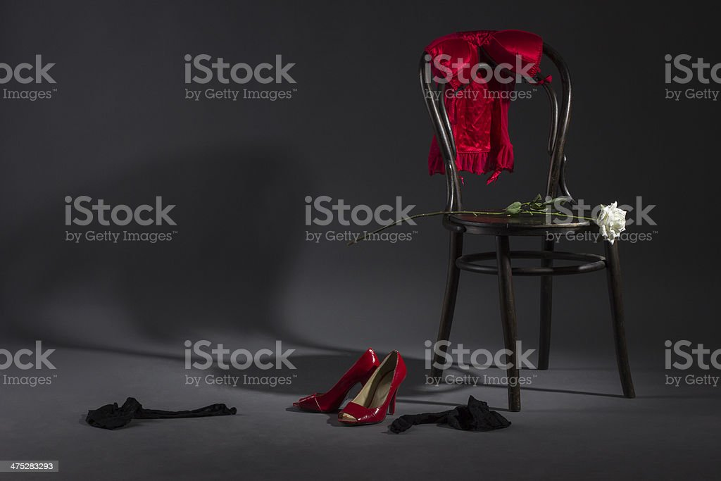 Women's underwear on a chair. royalty-free stock photo
