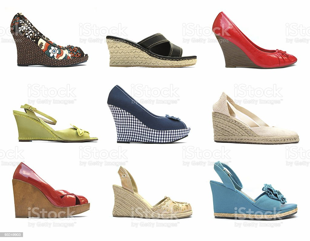 Women's wedge heels shoe collection (side view) stock photo