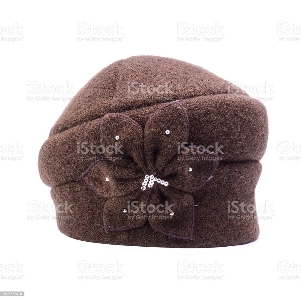 women's winter hat isolated on white stock photo