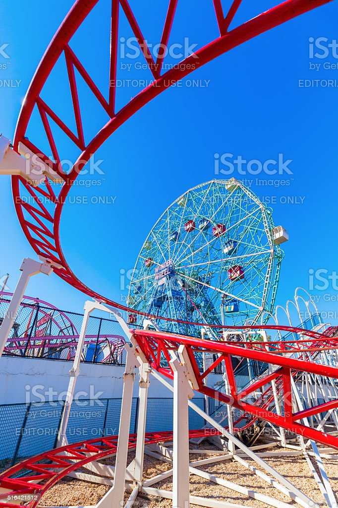 Wonder Wheel in Luna Park, Coney Island, Brooklyn, NYC stock photo
