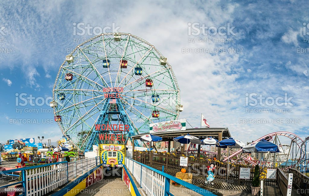Wonder Wheel is a hundred and fifty foot electric wheel stock photo