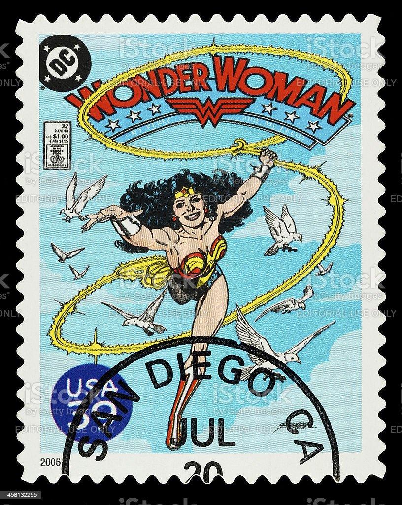 Wonder Woman Superhero Postage Stamp stock photo