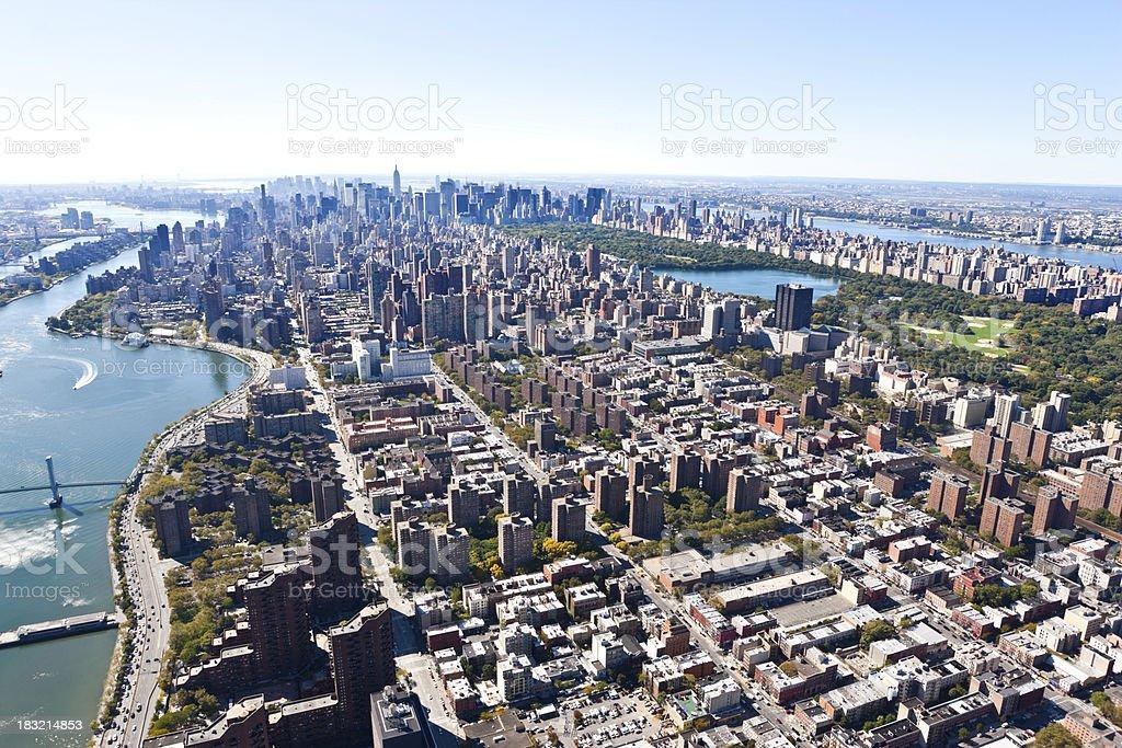 wonderful aerial view over manhattan stock photo