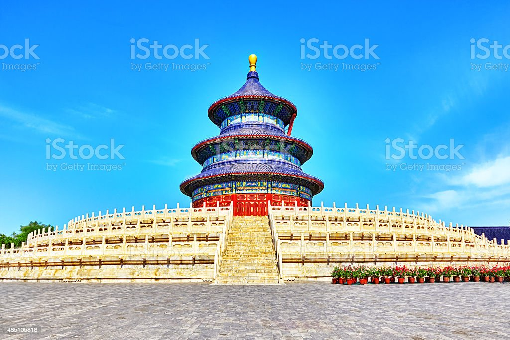 Wonderful and amazing temple - Temple of Heaven in Beijing. stock photo
